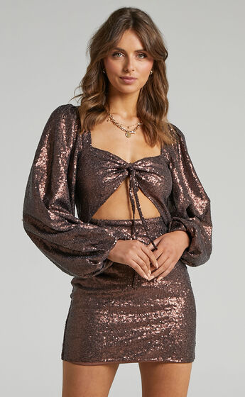 Kat Long Sleeve Bodycon Mini Dress in Chocolate Sequin