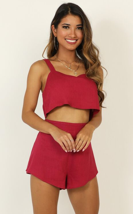 Save The Light Two Piece Set In Berry Linen Look