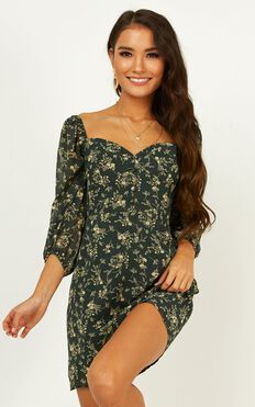 Couldn't Be Happier Dress In Emerald Floral
