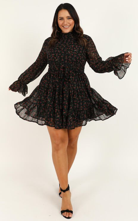 Prove Them Wrong Dress In Black Floral
