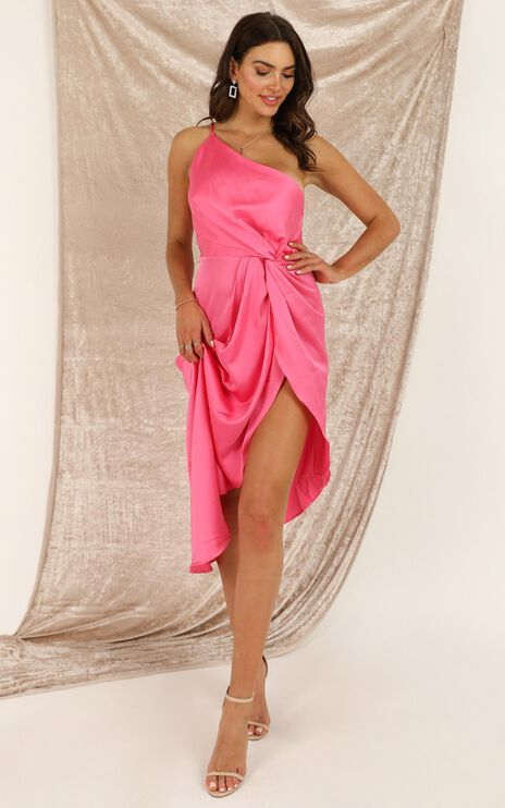 Not Thinking Dress In Hot Pink