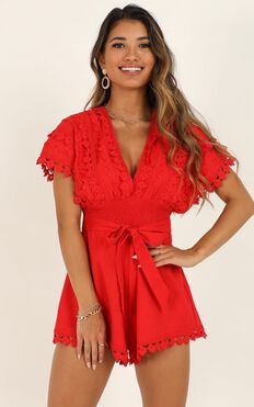Think Big Playsuit in Red Linen Look