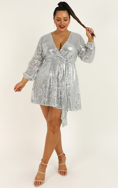 Three Of Us Dress in silver sequin - 20 (XXXXL), Metallic, hi-res image number null