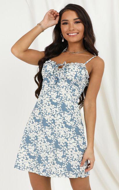 Never Leave Again dress in blue floral - 12 (L), Blue, hi-res image number null