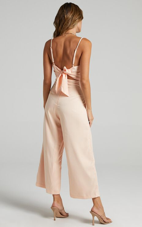 Daisy Jumpsuit in Champagne Satin