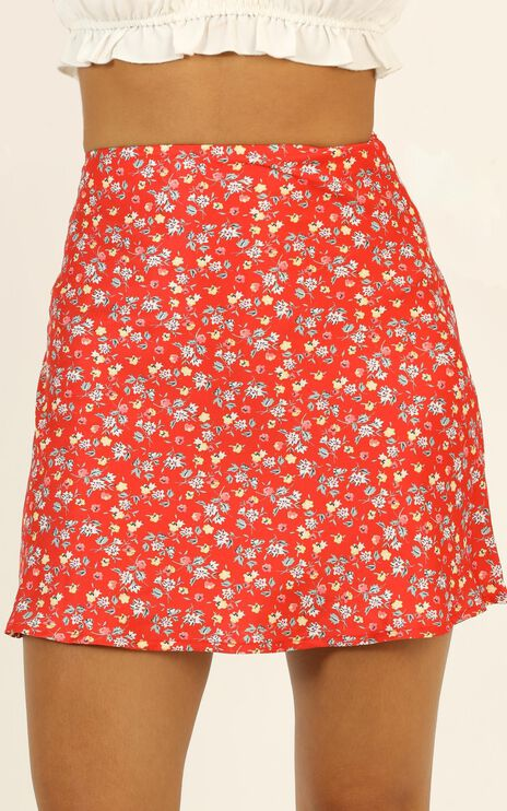 Puzzle Pieces Skirt In Red Floral