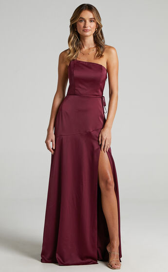 Find Your Tribe Dress in Mulberry Satin