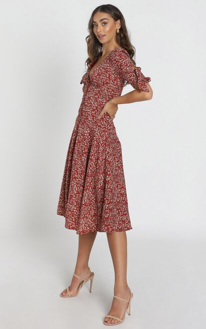 Stacey Button Through Midi Dress in wine floral - 6 (XS), Wine, hi-res image number null