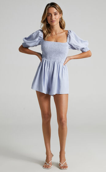 Take Action Playsuit in Light Blue Linen Look