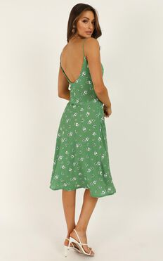 Toss The Dice Dress In Green Floral