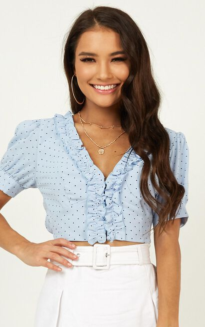 Summer Sunsets Top In blue spot - 20 (XXXXL), Blue, hi-res image number null