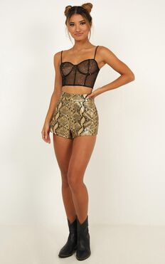 Candy Paint Shorts In Gold Snake Leatherette