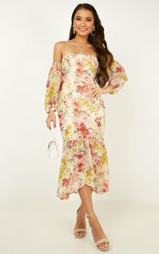 Forever You And Me Dress In White Floral