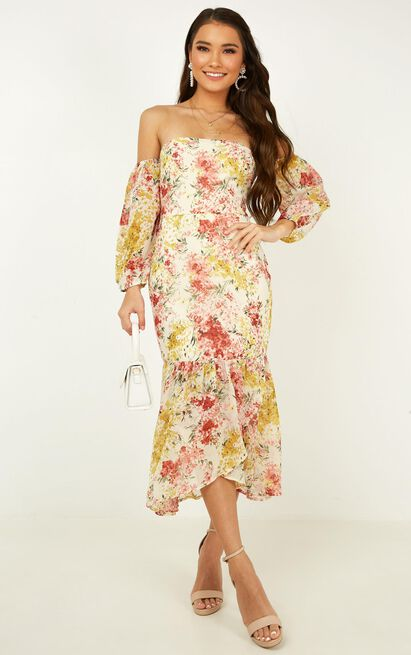 Forever you and me dress in white floral - 14 (XL), White, hi-res image number null