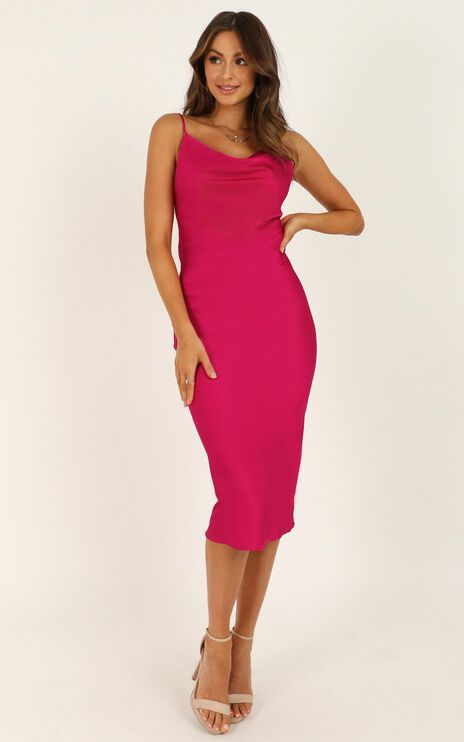 Before The Storm Dress In Hot Pink Satin