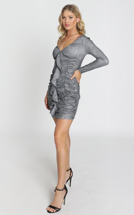 Saskia Dress in Black Glitter