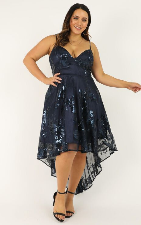 Fair Shake Dress In Navy Sequin