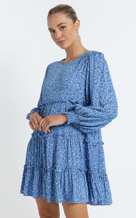 Meera Dress in Blue Floral