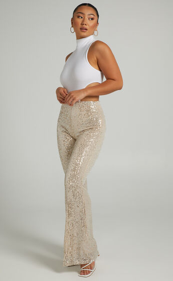 Deliza sequin flare pants in Light Gold