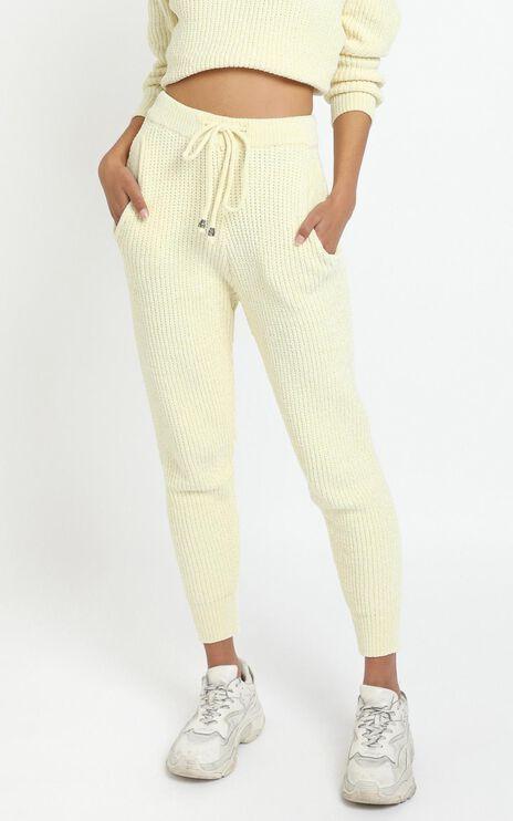 Tabitha Knit Pants in Pastel Yellow