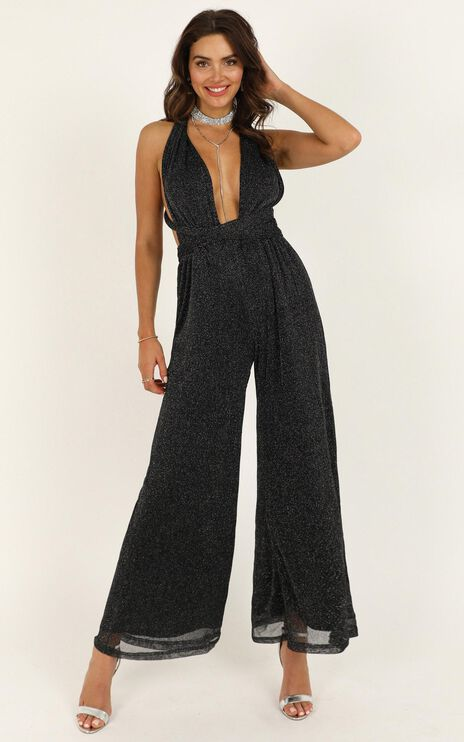 Stand Up For Me Jumpsuit In Black Lurex