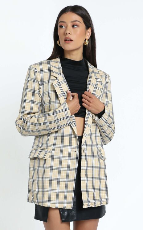 Lioness - The West Village Blazer in Beige Check