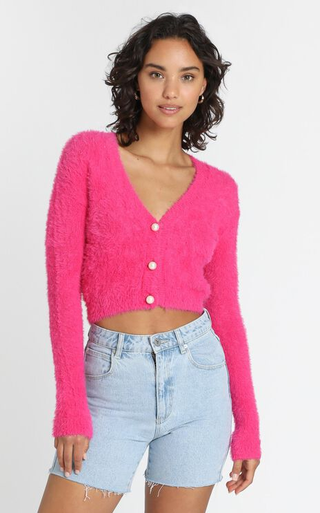 Vegas Baby Cardigan in Hot Pink