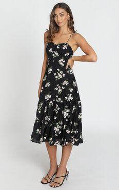 Quit Talking Dress In Black Floral