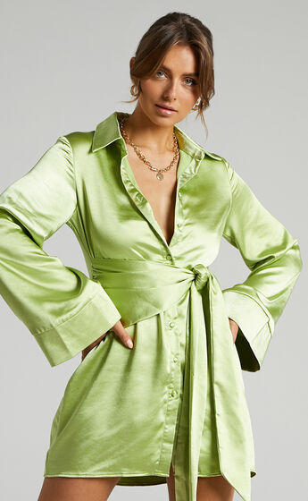 Hadid Button Down Satin Shirt Dress with Waist Tie in Green