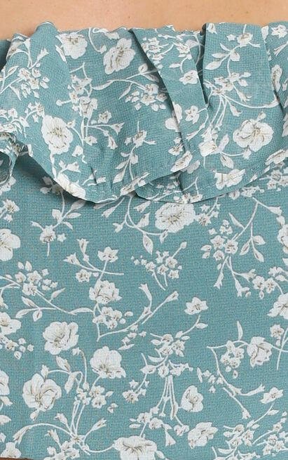 Not Interested Top in teal floral - 8 (S), Green, hi-res image number null