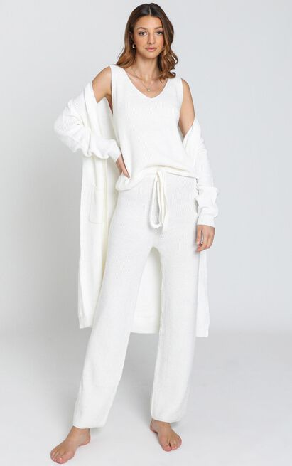 Luxe Lounge Knit Trouser in Cream - S/M, Cream, hi-res image number null