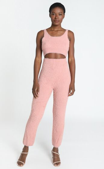 Athena Fluffy Knit Two Piece Set in Blush