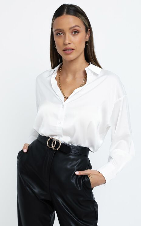 Desiree Shirt in White Satin