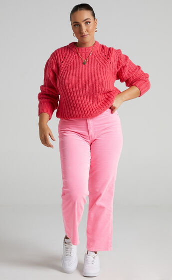 Rollas - Captain Sweater in Pink Cordial