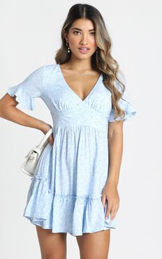 Elissa Dress In Blue Floral
