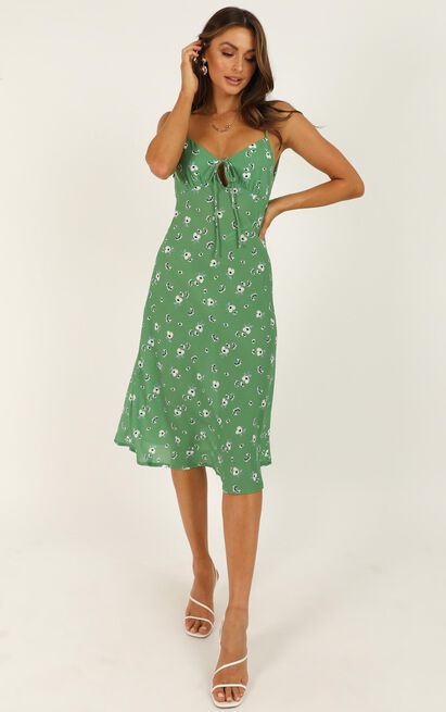 Toss The Dice Dress In Green Floral - 16 (XXL), Green, hi-res image number null