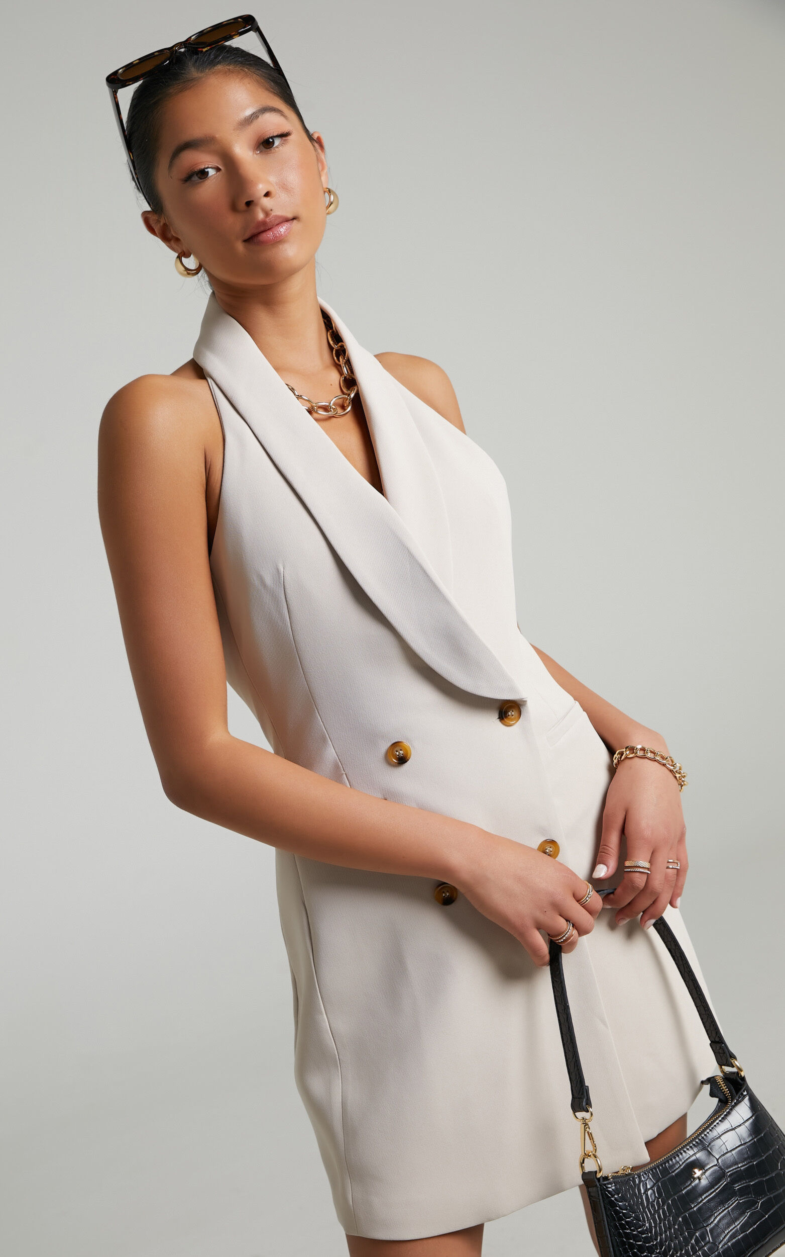 Kenny Waistcoat Mini Dress with Open Back in Light Camel - 04, BRN1, super-hi-res image number null
