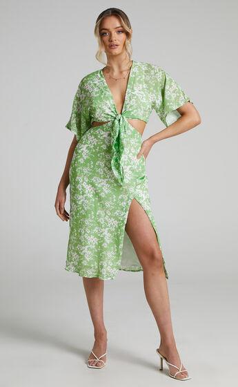 Junie Centre Front Tie Neckline Cape Back Midi Dress in Whispering Floral