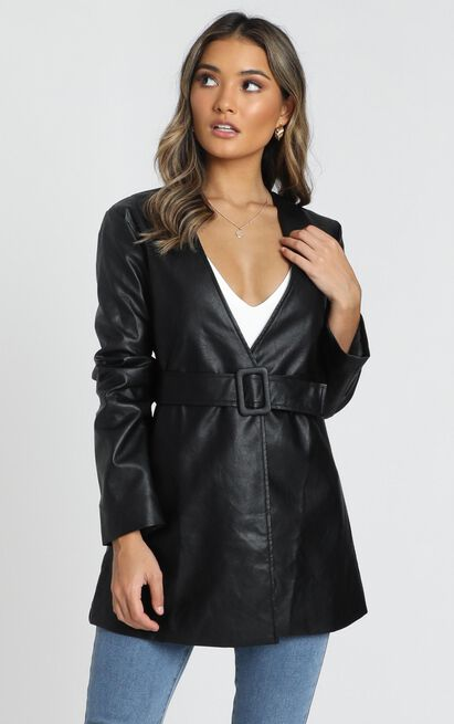 Sweeping the Path Jacket in black leatherette - 20 (XXXXL), Black, hi-res image number null
