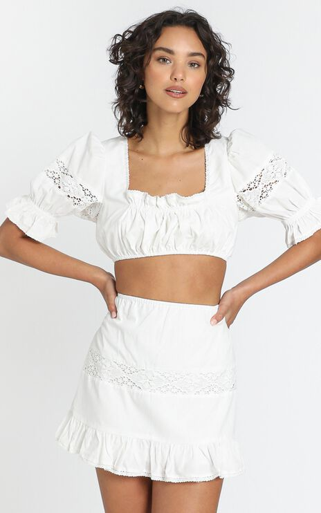 Just Like Paradise Two Piece Set in White Linen