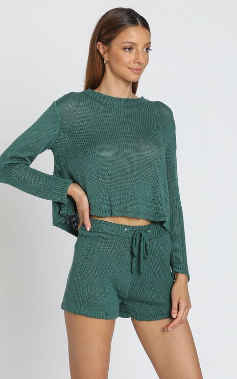 Lenka Knit Two Piece Set in Emerald