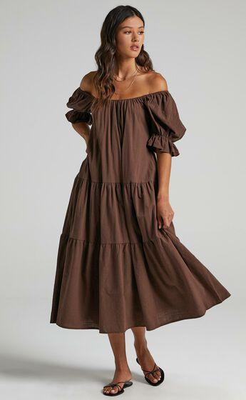 Zaharrah Tiered Midi Dress in Chocolate Linen Look