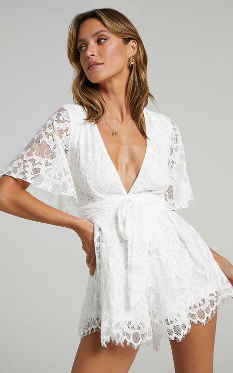 New World Playsuit In White Lace