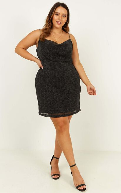 Explain It To Me Dress In Black Lurex - 	20 (XXXXL)	, Black, hi-res image number null