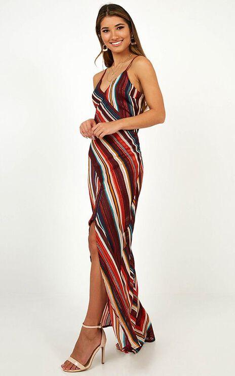 Keeping It Breezy Slip Dress In Wine Stripe
