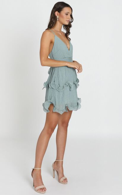 Moving On Up Mini Dress In olive - 12 (L), Blue, hi-res image number null