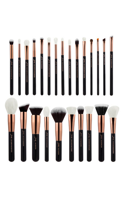 Makeup Brush Set in Black and Rose Gold - 25 pc, Black, hi-res image number null