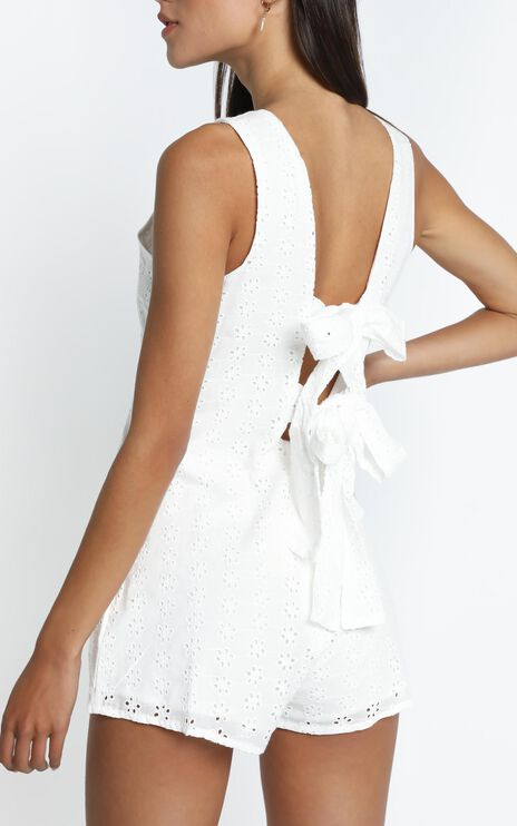 Mael Embroidery Playsuit in White