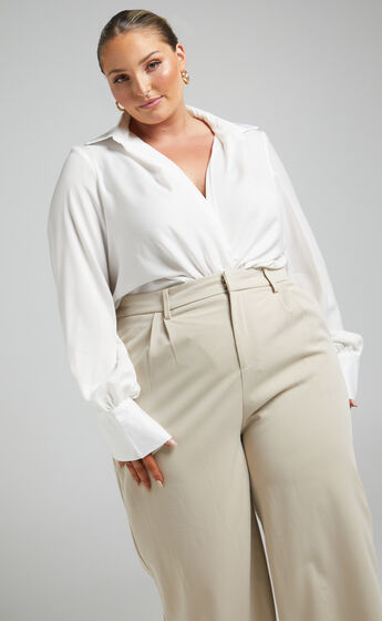 Zephyr Plunge Neck Cowl Bodysuit in White