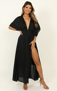 Save It For Later Dress In Black Satin